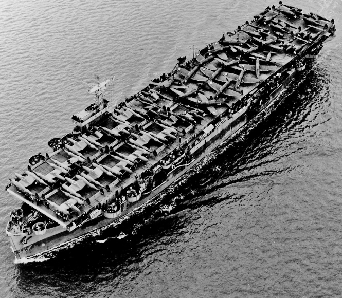 The Carrier USS Barnes Carrying Lockheed P-38 Lightnings and Republic P-47 Thunderbolts